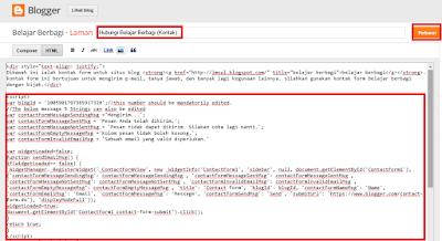 Memasukan script kontak form ke halaman posting