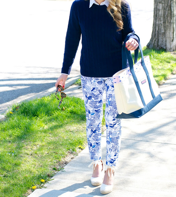 cashmere sweater, printed pants and vineyard vines tote