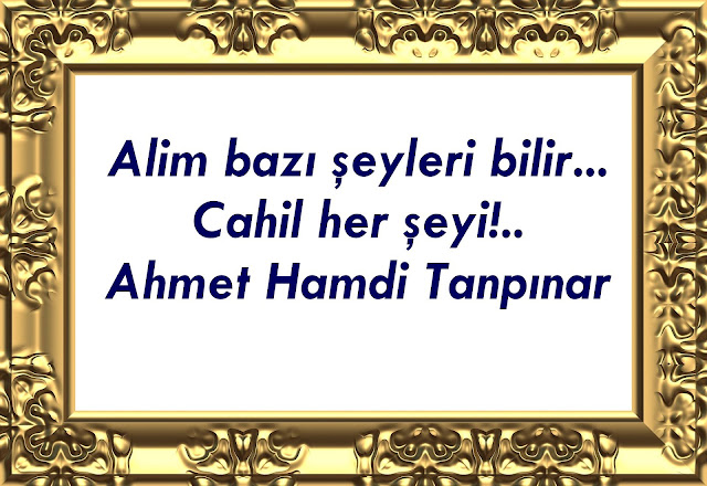 Alim bazı şeyleri bilir... Cahil her şeyi !... Ahmet Hamdi Tanpınar