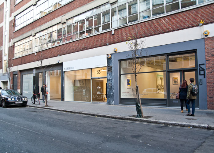 Art galleries on Eastcastle Street in Fitzrovia, Carroll/Fletcher, PiArtworks, and Pilar Corrias