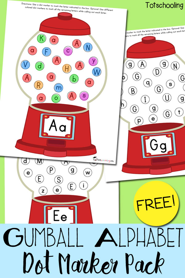 image regarding Gumball Machine Printable identify Gumball Alphabet Do-a-Dot Marker Pack Totschooling