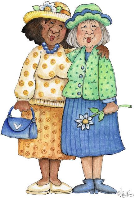 dibujos de dos amigas viejas abrazadas