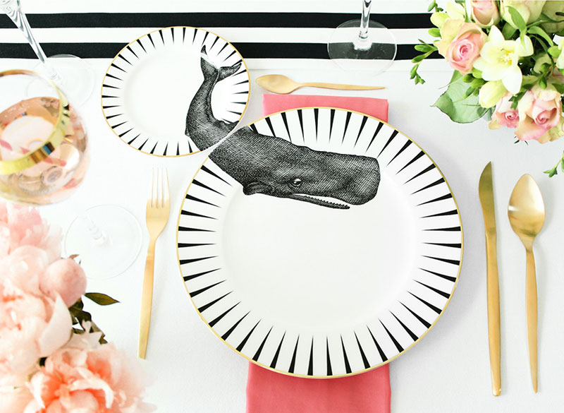 unique plate sets with animal applied across the matching dinner and side plates by british designer yvonne ellen