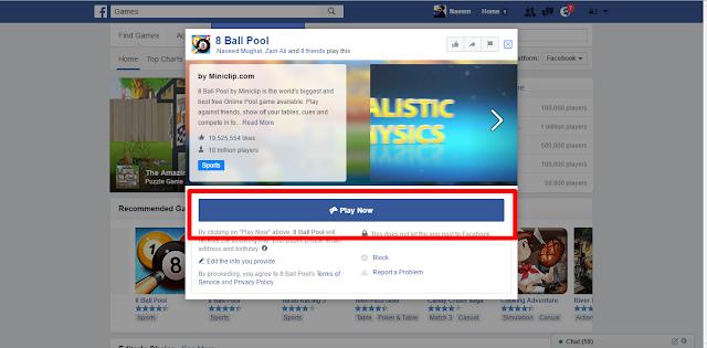 Facebook Games select game