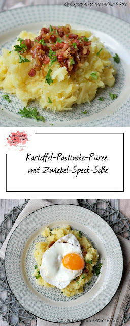 Kartoffel-Pastinake-Püree mit Zwiebel-Speck-Soße | Rezept | Kochen