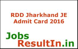 RDD Jharkhand Admit Card 2016