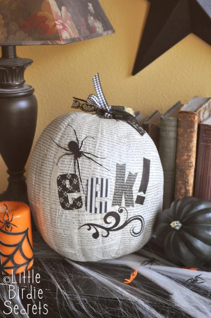 Spooky Halloween Book Page Crafts - Decoupage Halloween Pumpkin