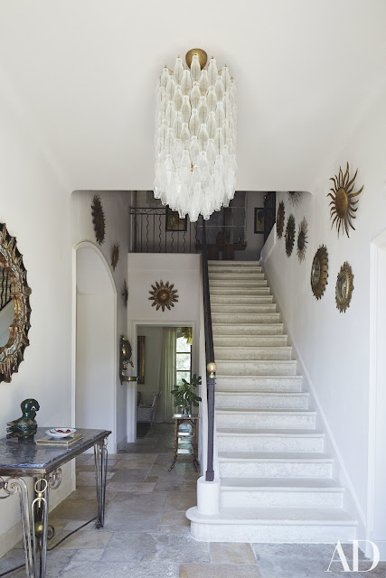 South Of France Home : Sunburst mirrors, in the entrance hall.