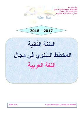المخطط السنوي لغة عربية للسنة الثانية للزميلة حياة عطية