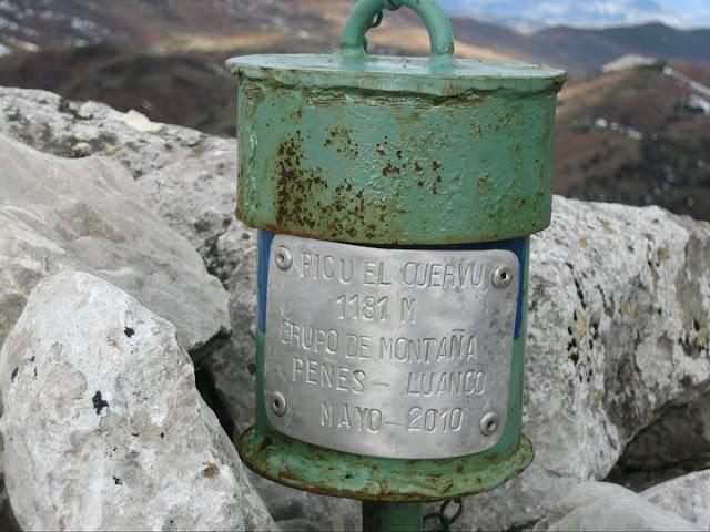Rutas Montaña Asturias: Buzón de cima del pico Cuervo