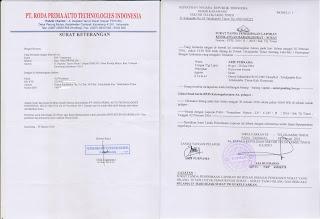 surat kehilangan dari kepolisian + Surat keterangan perusahaan