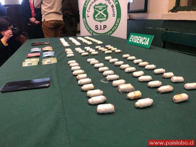 Extranjera detenida en aeropuerto con 100 ovoides de Clorhidrato de Cocaína