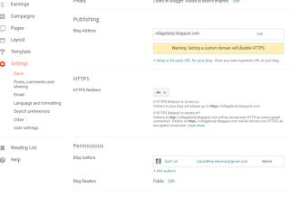domain setting on blog