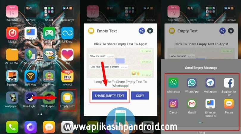 Cara gampang membuat tulisan kosong di status, chat & profil whatsapp 1