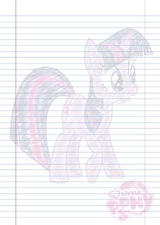 Folha Papel Pautado Little Poney da Twilight Sparkle rabiscado em PDF para imprimir na folha A4