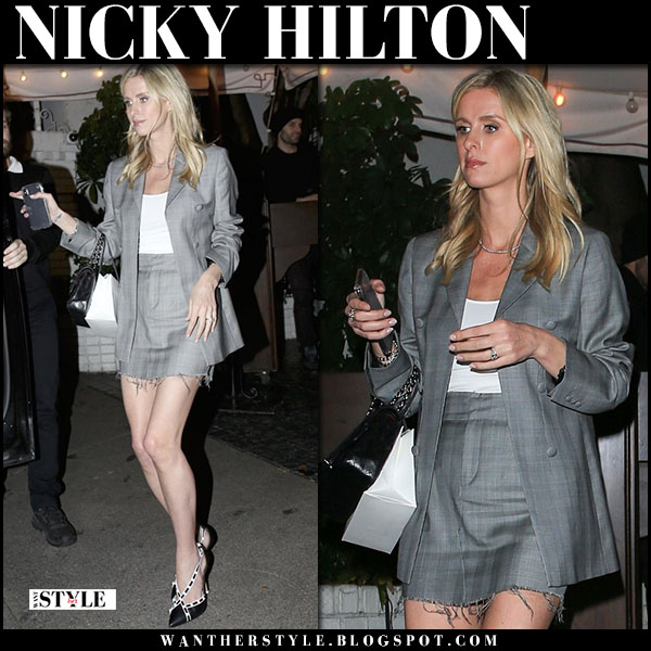 Nicky Hilton in grey checked blazer and grey mini skirt rta fashion march 21