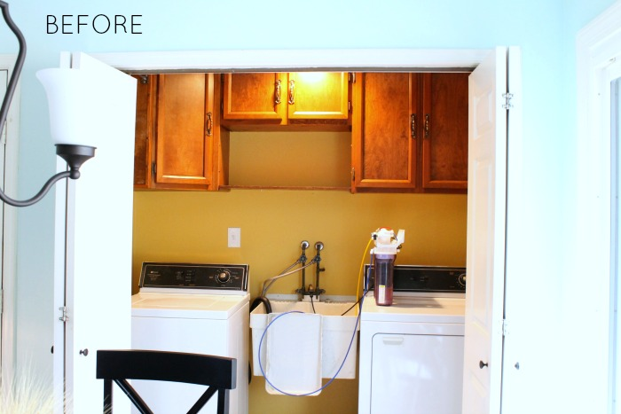 This laundry room got a beautiful makeover! Great before and after!