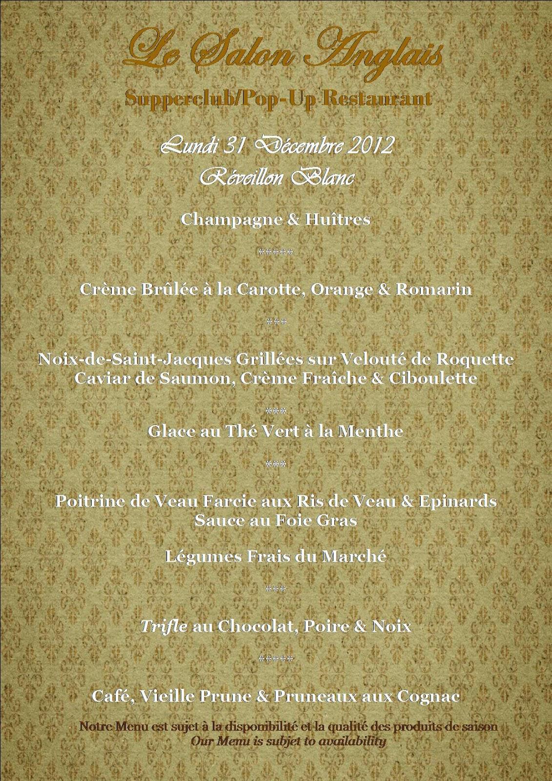 Menu Du Reveillon Restaurant Saint Esteve Tholonet