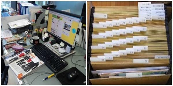 imagem de mesa de trabalho bagunçada e arquivo organizado