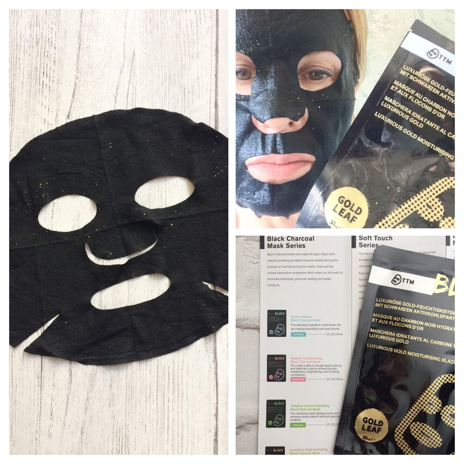 Timeless Truth Black Charcoal gold hydrating sheet mask