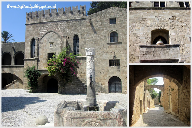 Narrow alleys, streets and walkways in rhodes town, Greece. Courtyard with a beautiful fountain and crenelations in the ancient, medieval city. Tourist spots and sights worth visiting.