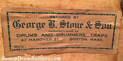 Late 1930s George B. Stone & Son Drum Label