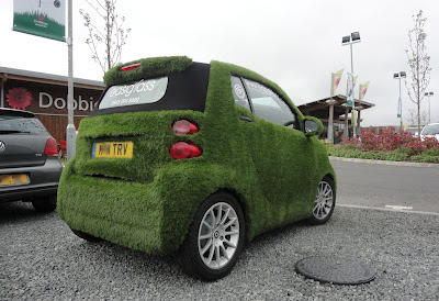 EasiBug by EasiGrass grass-covered SMART car in Dobbies' car park in Lisburn
