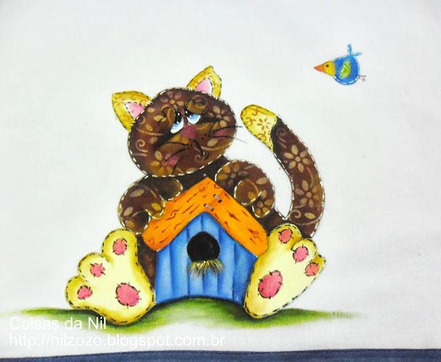 pintura estilo country de gatinho com casinha de passaro
