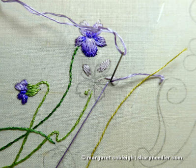 Society Silk Violets: Starting the first motif