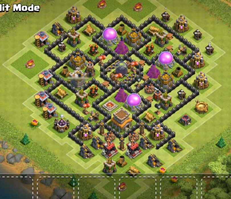 dark elixir protecting town hall 8 farming base design