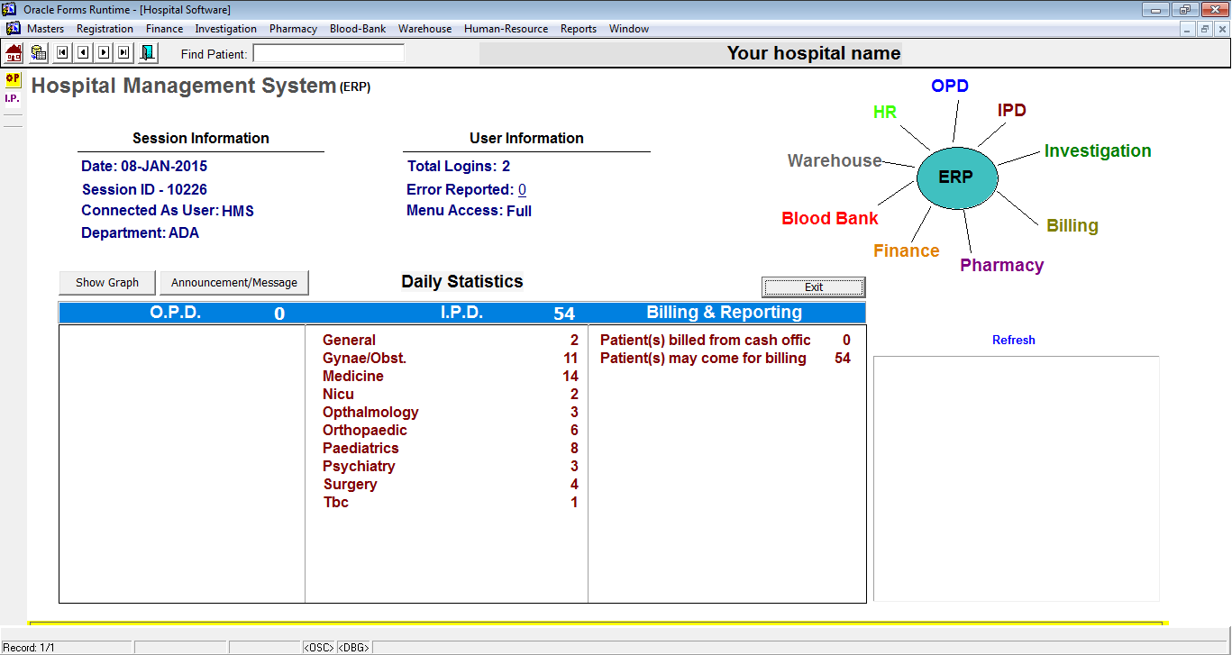 Hospital management software hms oracle based fox infotech hospital opd and ipd registration oracle forms project baditri Image collections
