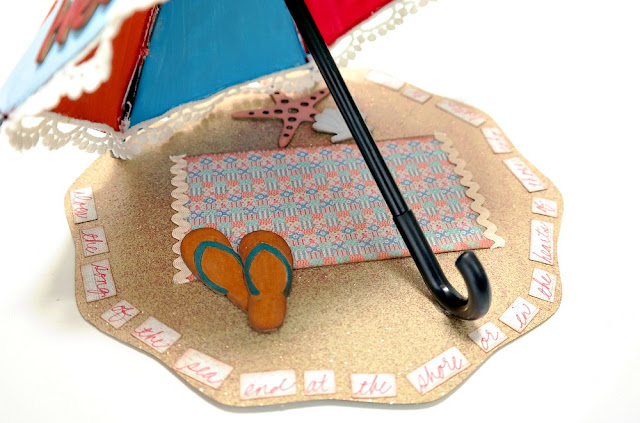 Hello Summer Beach Umbrella Scenelit Closeup by Dana Tatar for FabScraps