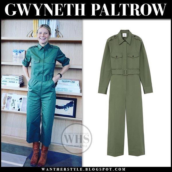 fb3ef6b511e Gwyneth Paltrow in army green utility jumpsuit g label. Celebrity utility  trend spring
