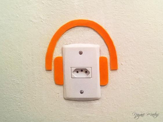 interruptor decorado fone de ouvido