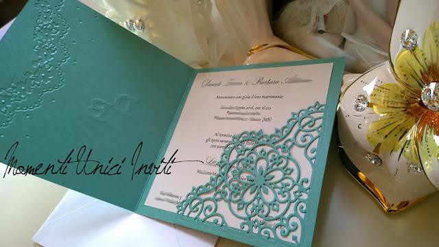 2b Tiffany e pizzo per Daniele e Barbara...Colore Tiffany Partecipazioni intagliate Partecipazioni Pizzo pizzo