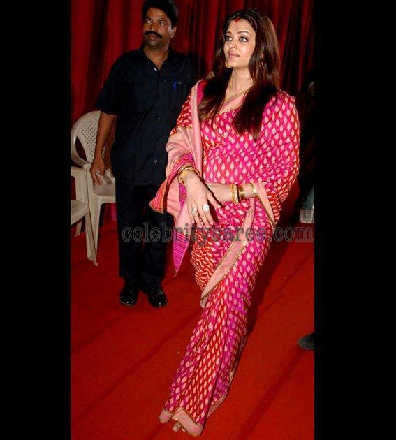Aishwarya Rai In Pink Pochampally Silk Sari Saree Blouse Patterns