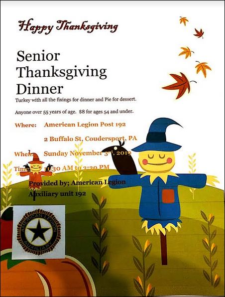 11-3 Senior Thanksgiving Dinner, Coudersport Legion