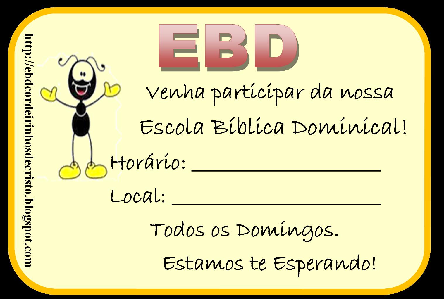EBD Cordeirinhos de Cristo: Convites EBD Pré Adolescentes