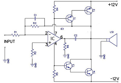 12W Amplifier Circuit Using 741 Op Amp Circuit Diagram