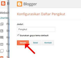 Konfigurasikan Daftar Pengikut Blog