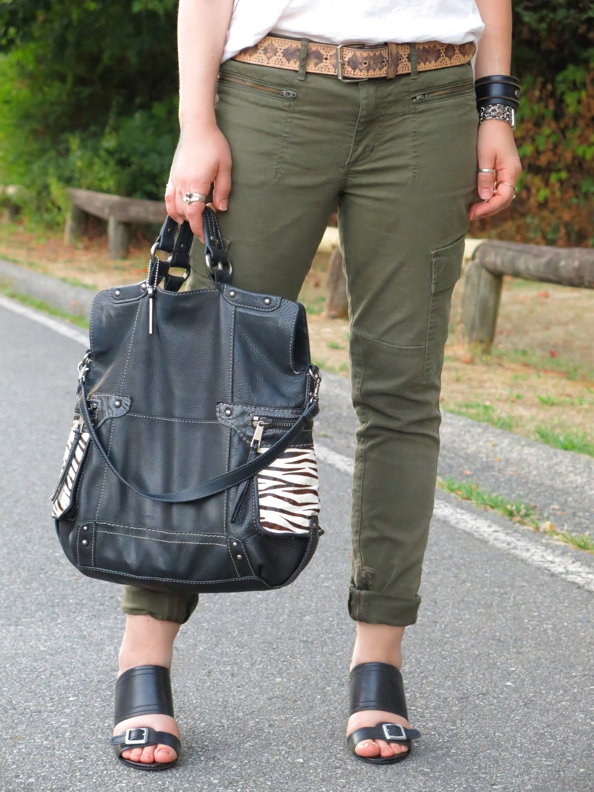 skinny cargo pants with leather accessories