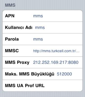 Turkcell mms APN Ayarları iPhone ipad