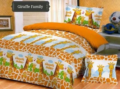jual Sprei Bedcover Giraffe Family