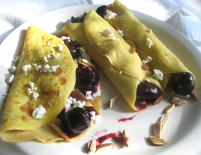 balsamic cherry goat cheese crepes