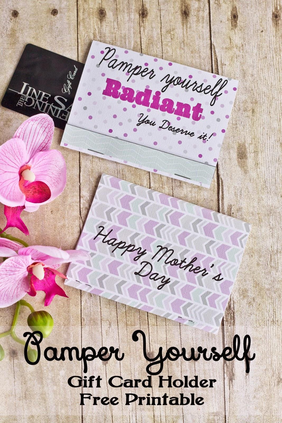 pamper yourself gift card holder printable www.freetimefrolics.com #mothersday
