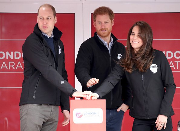 Prince William, Duke of Cambridge, Catherine, Duchess of Cambridge and Prince Harry started the 37th Virgin Money London Marathon in Blackheath, London