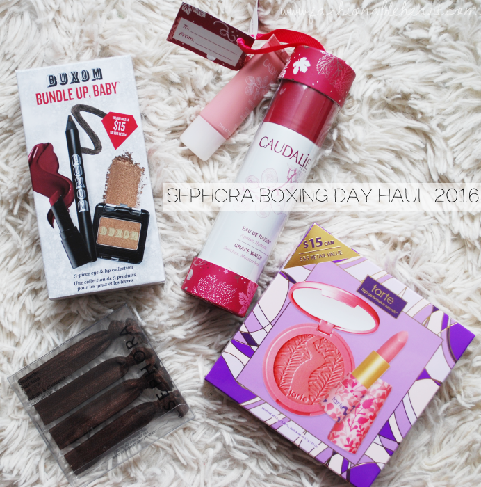 bbloggers, bbloggersca, canadian beauty bloggers, 2016 boxing day, sephora, haul, sale, deals, buxom cosmetics bundle up baby, tarte pretty posse, caudalie grapest hydration, hair ribbons