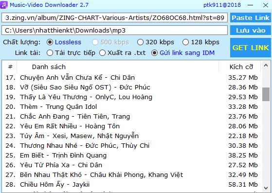 Music-Video Downloader 2.7 - hỗ trợ tải album nhạc Lossless, 320kbps zingmp3, nhaccuatui, chiasenhac 2018