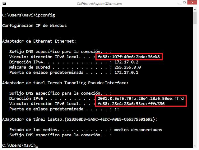 Ipconfig con IPv6