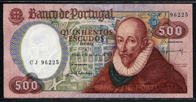 Portugal money currency 500 Portuguese Escudos banknote